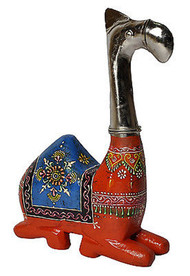 Indian Camel Statue Sculpture Meenakari Orange Hand Painted Wood Camel Figurine