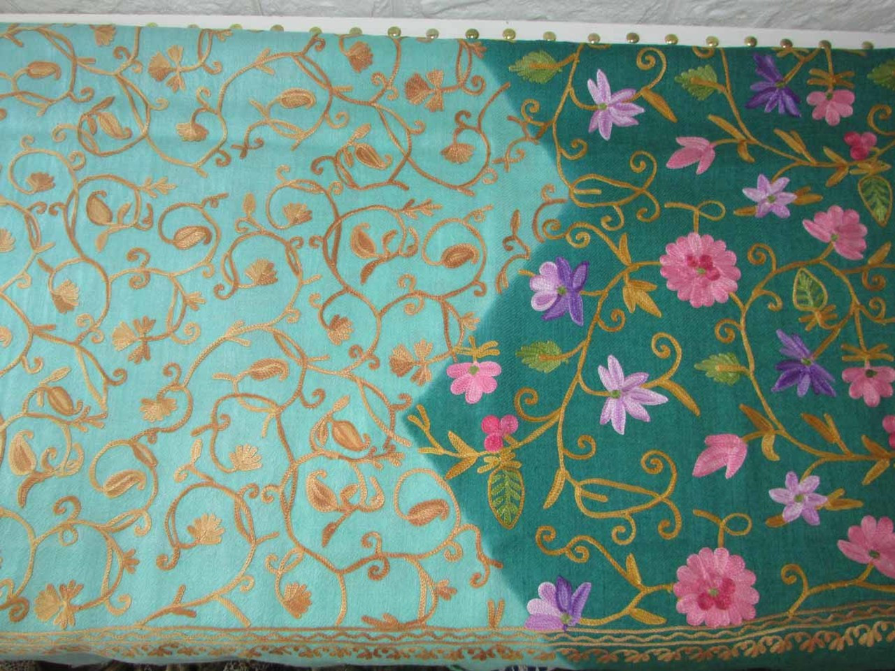 336a38d320c white and green floral pattern embroidered shawl , handmade kashmiri shawl