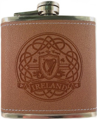 Irish Harp Leather Flask | Irish Rose Gifts