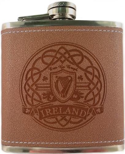 Irish Harp Leather Flask | Irish Rose Gifts