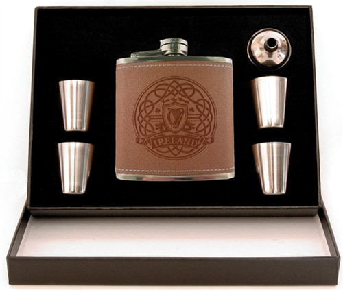 Harp 5-Piece Leather Flask Box Set | Irish Rose Gifts