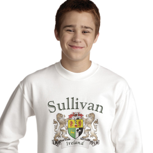 Irish Coat of Arms Sweatshirt in White | Irish Rose Gifts