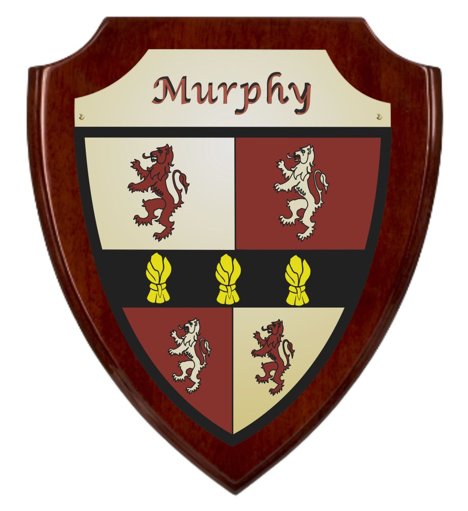 Irish Coat of Arms Shield Plaque -Rosewood Piano Finish