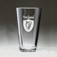 Irish Shield Harp Pint Glass - Set of 4 (Sand Etched)