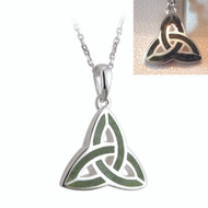 Trinity Knot Necklace with Connemara Marble - Sterling Silver