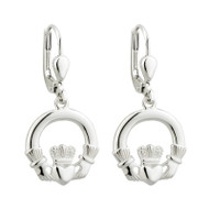 Claddagh Earrings Drop Style- Sterling Silver- by Solvar Jewelry Ireland