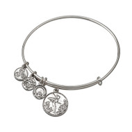 Celtic Fairy Sliver tone bracelet bangle - Allergy safe