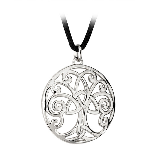 Tree of Life Necklace - Rhodium w/leather necklace