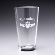Personalized Claddagh Pint Glass - 16oz - Set of 4 (Sand Etched)