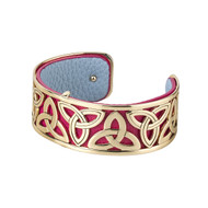 Gold Plated & Leather Trinity Bangle Bracelet - Solvar Jewelry Made in Ireland