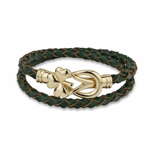 Shamrock Leather Wrap Bracelet - Gold Plated Solvar Jewelry Made in Dublin, Ireland. (S5874)