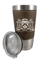 Irish Coat of Arms Leather Travel Mug - Rustic Brown