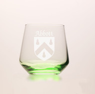 Irish Coat of Arms Green Tumbler Glass Set - Set of 4 (Sand Etched)