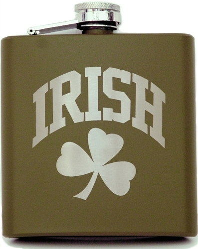 Army Green Shamrock Flask | Irish Rose Gifts