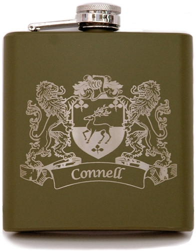Army Green Irish Coat of Arms Flask | Irish Rose Gifts