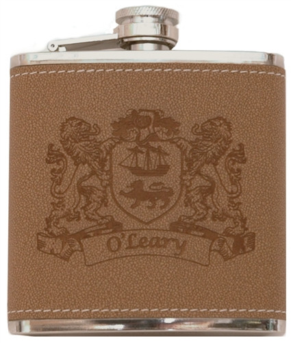 Irish Coat of Arms Leather Flask | Irish Rose Gifts