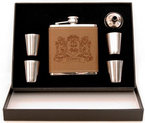 Irish Coat of Arms 5-Piece Leather Flask Set | Irish Rose Gifts