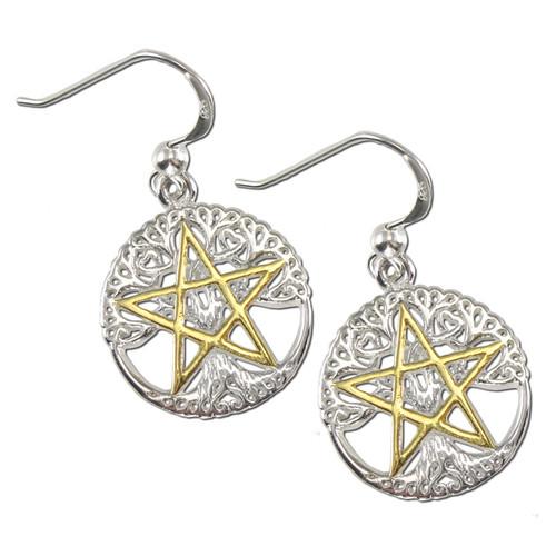 Sterling Silver Vermeil Cut Tree Pentacle Earrings