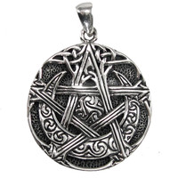 Sterling Silver Moon Pentacle Pendant