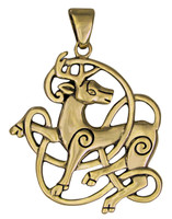 Bronze Celtic Knot Stag Pendant - Knotwork Totem Horned God Jewelry Dryad Design