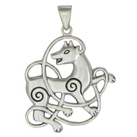 Sterling Silver Celtic Knot Wolf Pendant Dryad Design - Totem Knotwork Jewelry