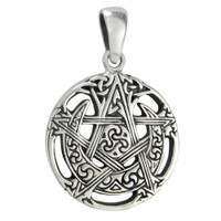 Sterling Silver Small Cut Moon Pentacle Pendant
