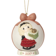 """Precious Moments """"May The Gift Of Love Be Yours This Season"""" Dated 2017, Bisque Porcelain Ball Ornament with Base"""