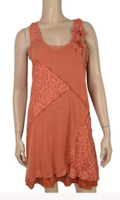 pretty angel Orange Lace Accent Linen blend Tunic Set