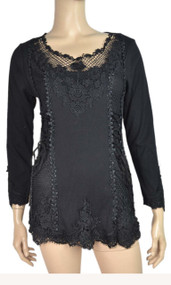 pretty angel Black Lace Top With mesh Neckline