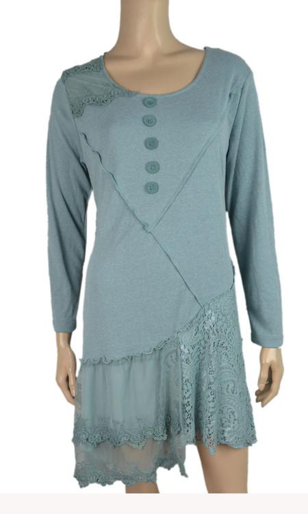 pretty angel Aqua Asymmetrical Lace Dress