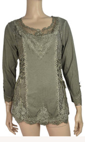 pretty angel Green Lace Top With mesh Neckline