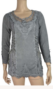 pretty angel Gray Lace Top With mesh Neckline