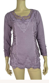 pretty angel Purple Lace Top With mesh Neckline