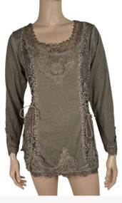 pretty angel Ecru Lace Top With mesh Neckline