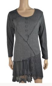 pretty angel Gray Asymmetrical Lace Dress