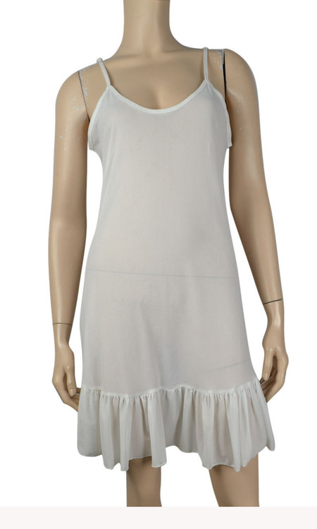 pretty angel White Ruffle Silk Blend Tunic with Adjustable Strap