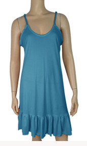 pretty angel Blue Ruffle Silk Blend Tunic with Adjustable Strap