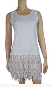 pretty angel White Crochet Linen-Blend Tunic