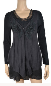 pretty angel Black Layered Linen Blend Tunic