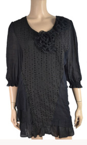 Pretty Angel Black Linen Blend Tunic with Flowers