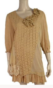 Pretty Angel Brown  Linen Blend Tunic with Flowers