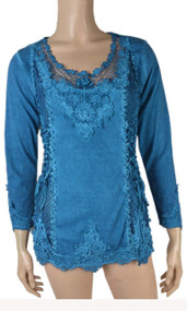 Pretty Angel Turquoise Lace Top With mesh Neckline