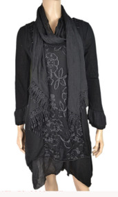 pretty angel Black Side tail Linen Blend Tunic with scarf set