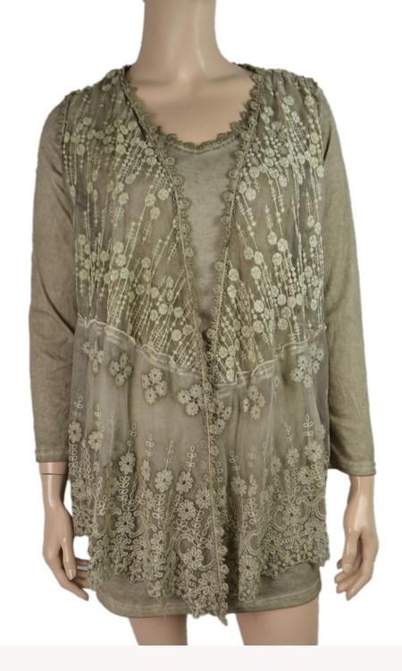 pretty angel Ecru Sheer Silk Blend Tunic with Lace Vest