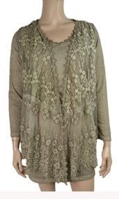 pretty angel Ecru Sheer Silk Blend Tunic with Lace Vest