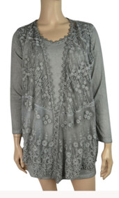 pretty angel Gray Sheer Silk Blend Tunic with Lace Vest