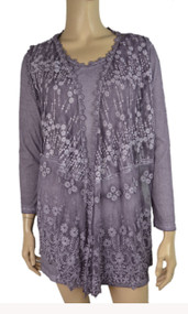 pretty angel Purple Sheer Silk Blend Tunic with Lace Vest