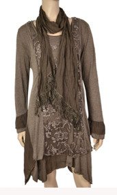 pretty angel Coffee Side tail Linen Blend Tunic with scarf set