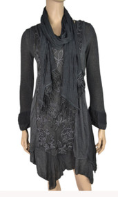 pretty angel Dark Gray Side tail Linen Blend Tunic with scarf set