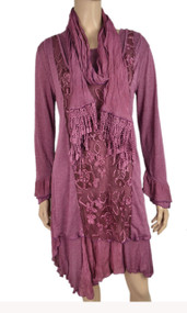 pretty angel Mauve Side tail Linen Blend Tunic with scarf set